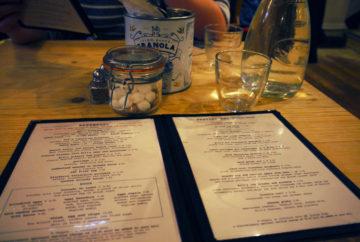 Menu and table at Bill's Restaurant i n Holborn, London