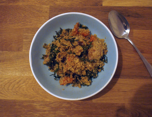 Sausage and kale with quinoa