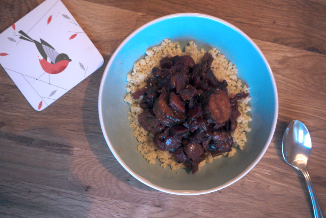 Spicy sausage casserole with couscous