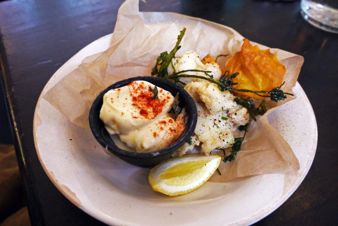 Fritto misto: Crispy fried fish & squid tossed in fennel-spiced flour with garlic & lemon aioli