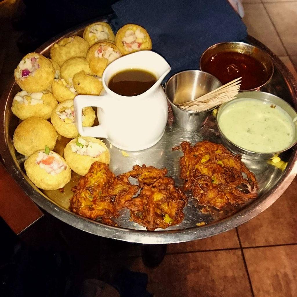 Panipuris and onion bhajis