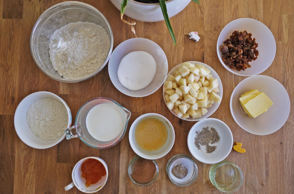 Pear and cardamom hot cross buns ingredients - Elsa Eats
