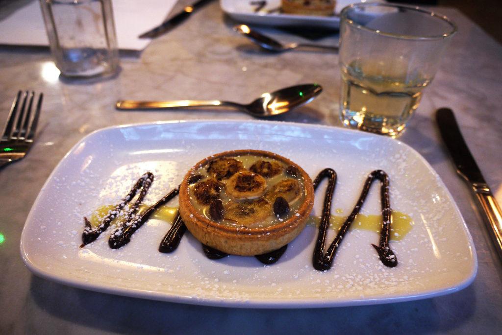 Leaf Pudding Club: Warm white chocolate and banana tart served with pure life wellness tea