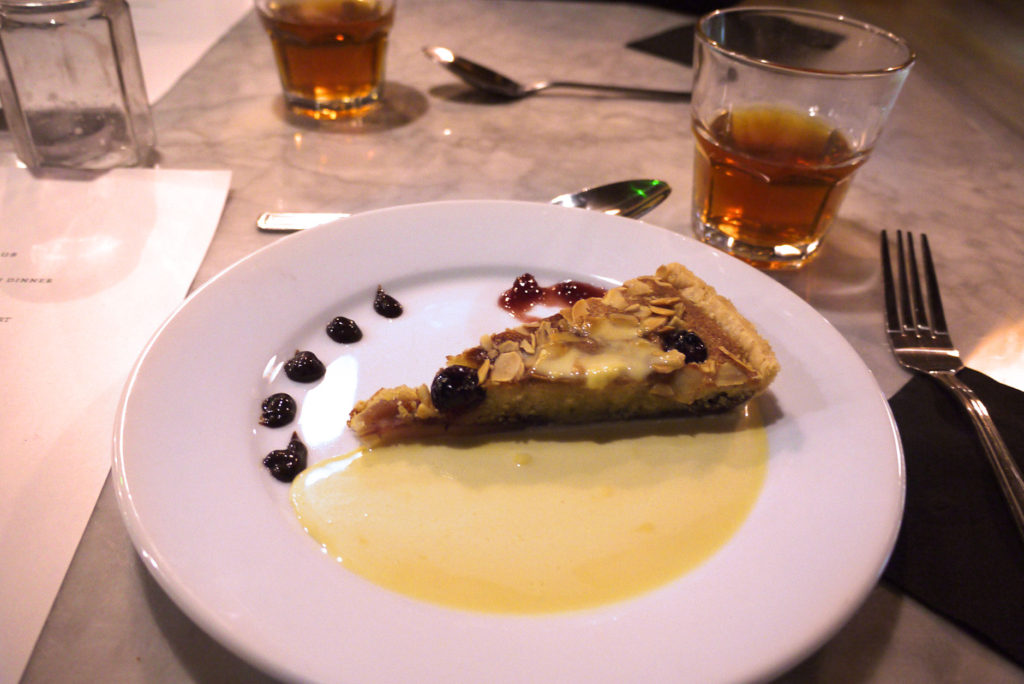 Leaf pudding club: Cherry and almond bakewell with crème anglaise served with wild cherry tea