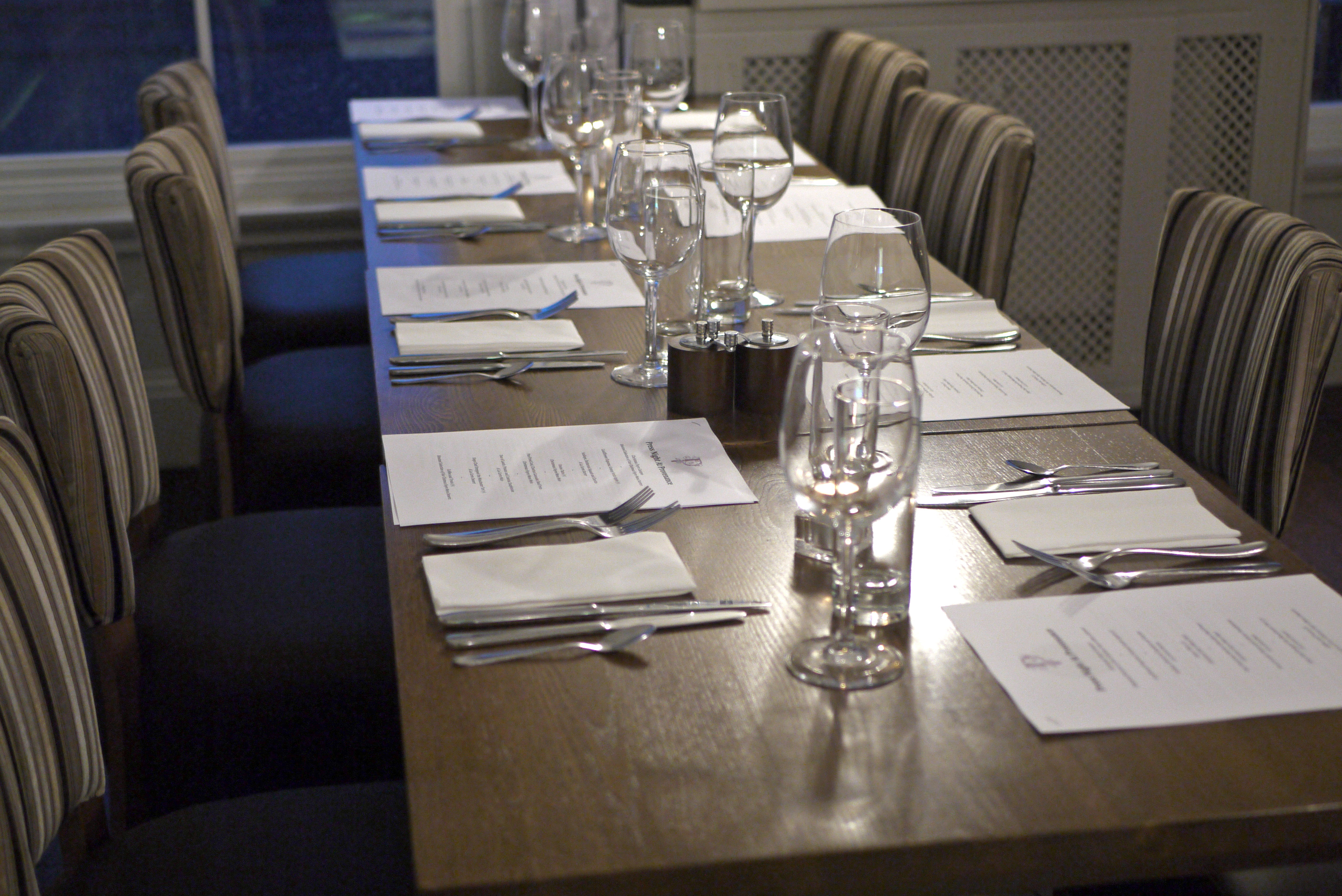 Provenance interior showing table setting and chairs