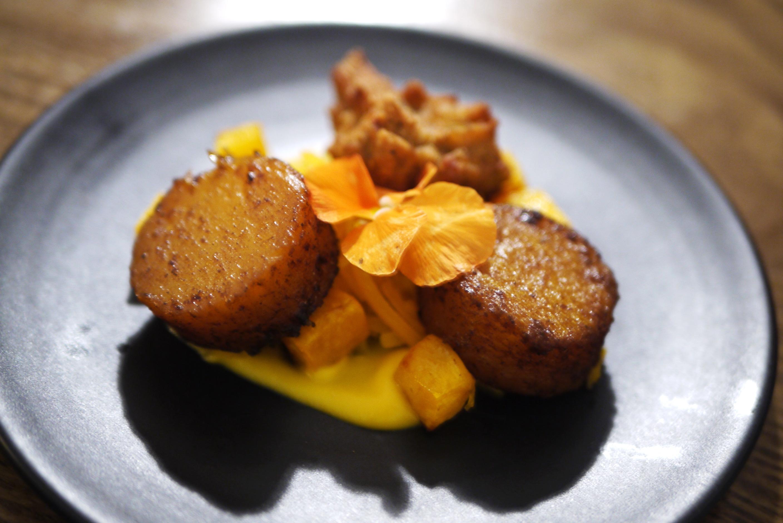 Butternut squash bhajis with curried hummus and fondant potatoes