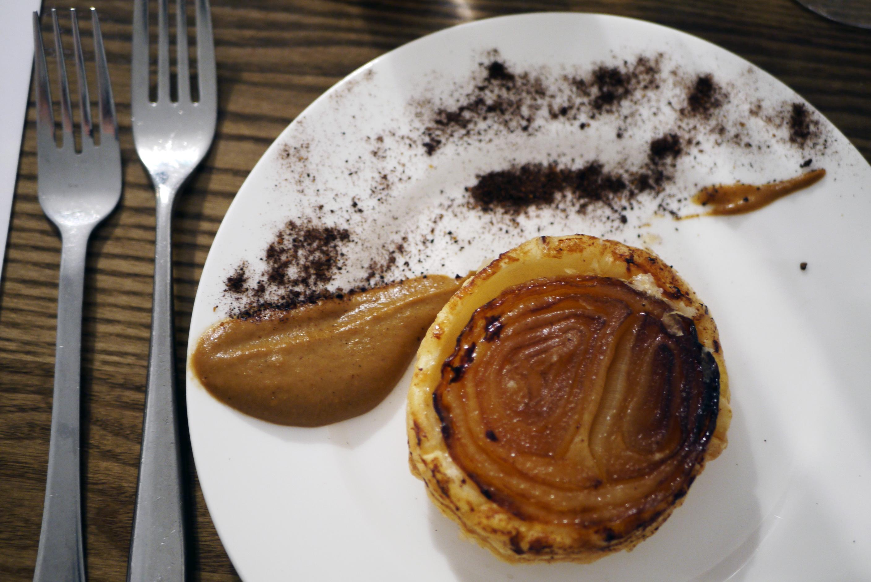 Onion tatin (v) from Provenance's Christmas Fayre Main Menu