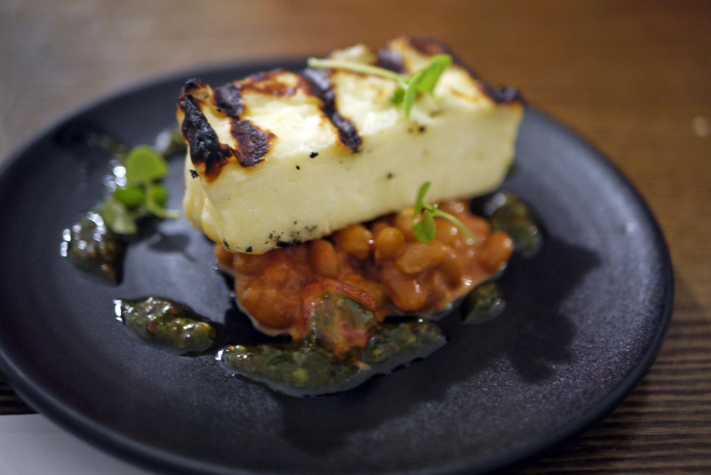 Pan Fried Halloumi, Lentils and Basil Pesto