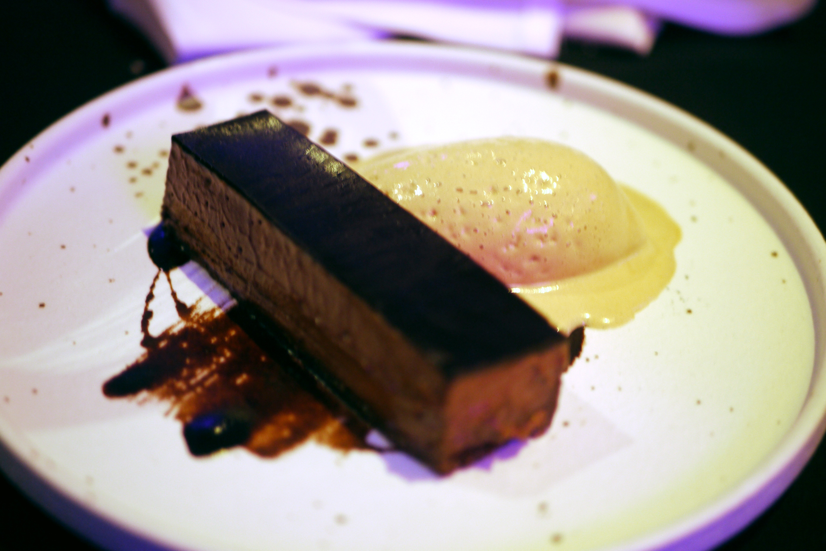 Valrhona chocolate pave with salted caramel ice cream, £6.50