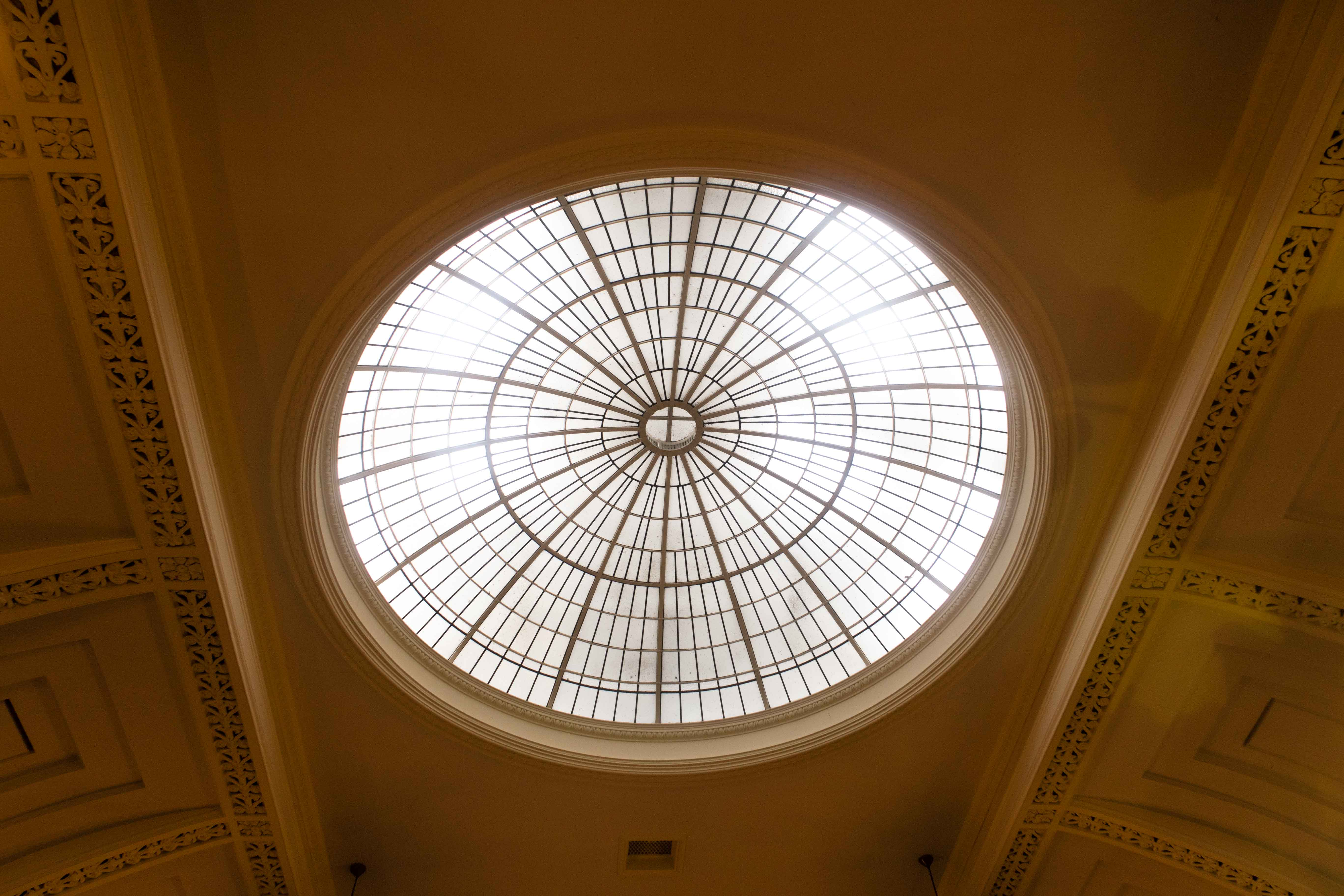 The glass dome of Barristers Restaurant