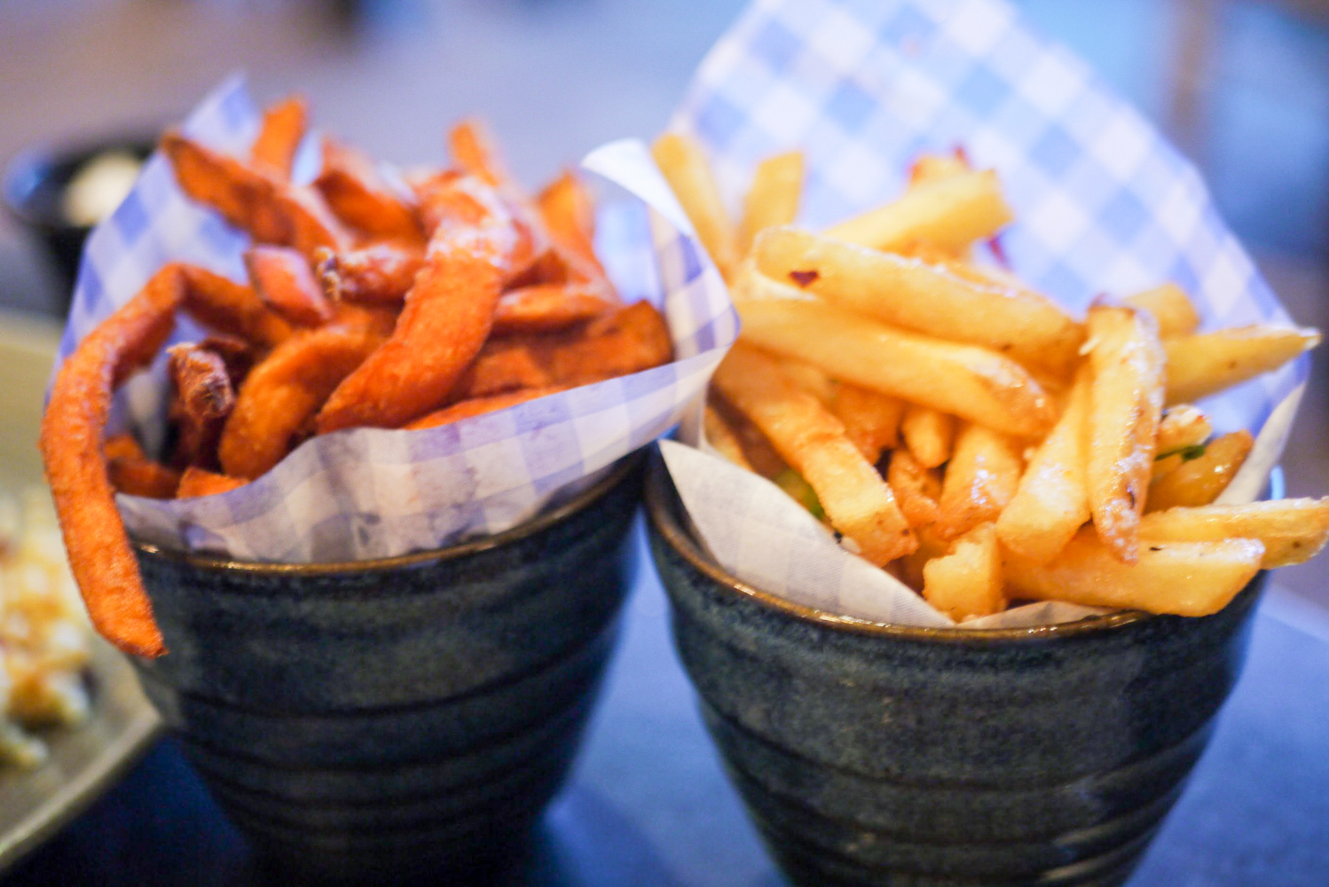 Sweet Potato Fries and Salt and Pepper Chips (each £4.25)