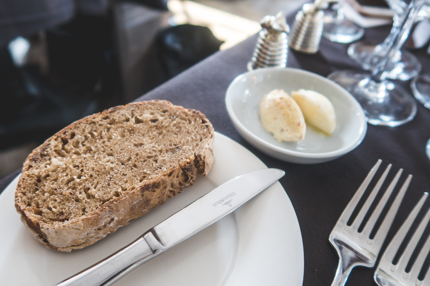 Bread with two types of butter