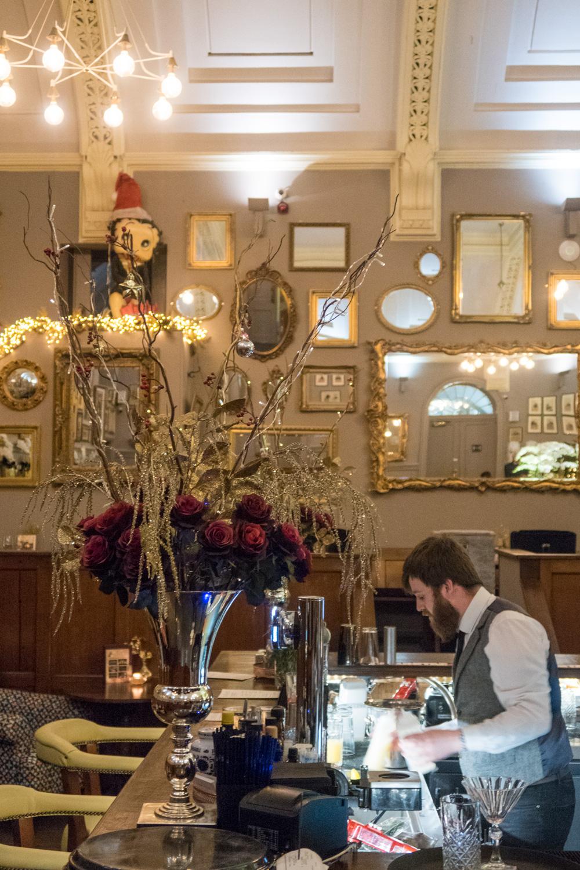 The bar inside the restaurant