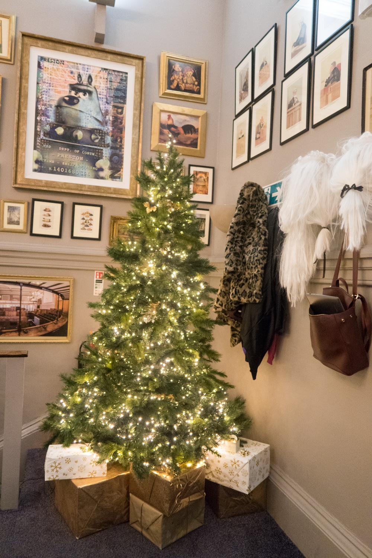 Christmas tree inside the restaurant