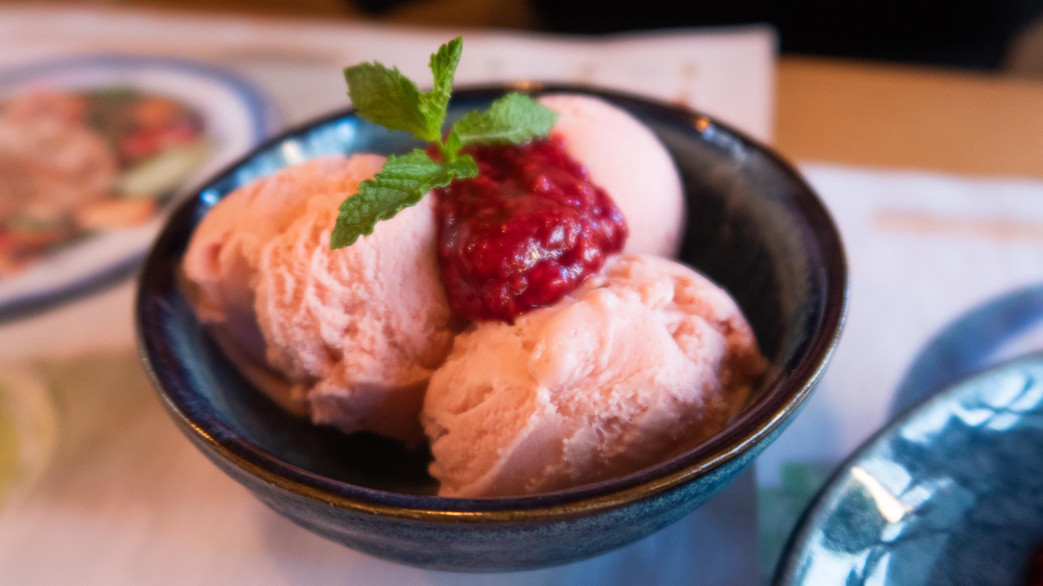 Strawberry and yuzu ice cream £4.50